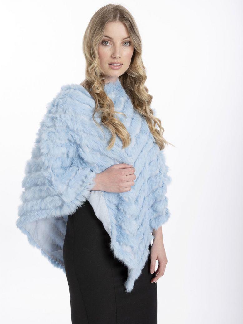 Jayley Pale Blue Coney Fur Poncho