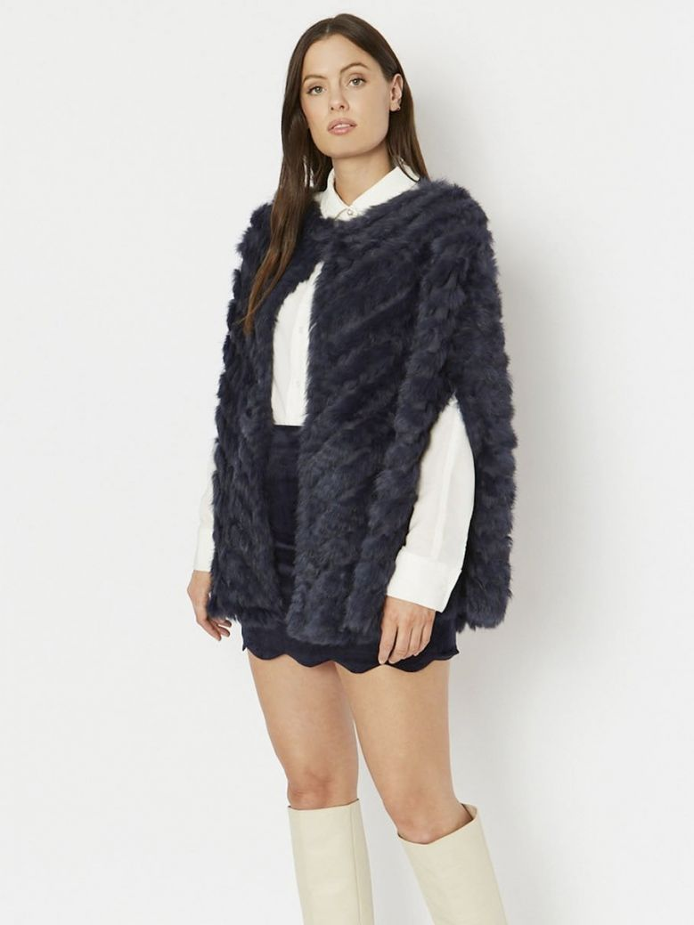 Jayley Navy Coney Fur and Faux Suede Cape