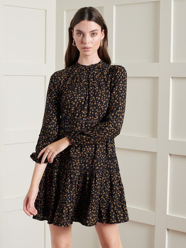Superdry Black Print Richelle Long Sleeve Dress