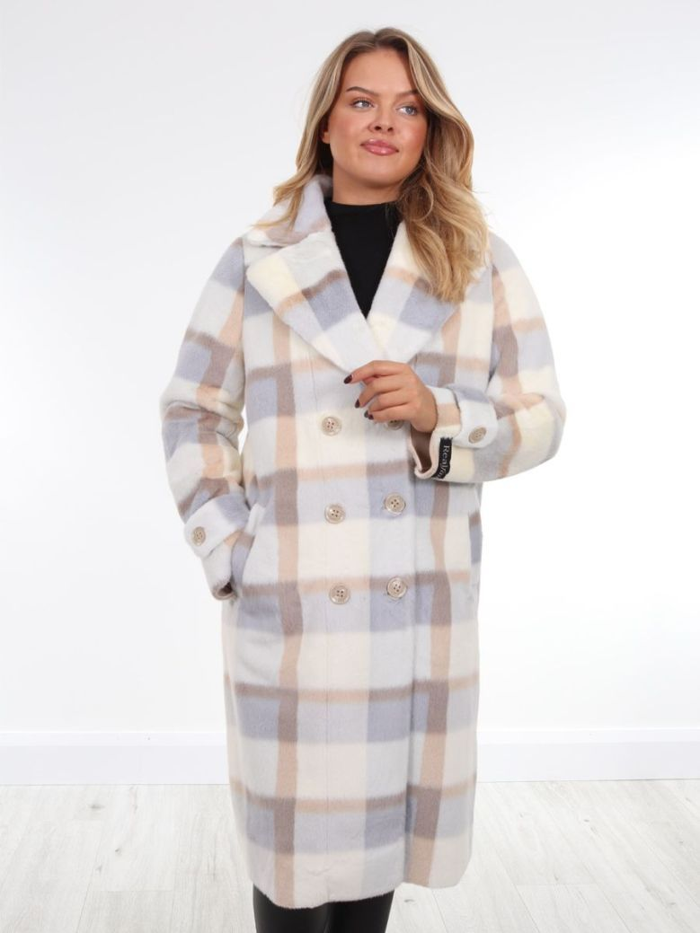 Rino & Pelle Long Double Breasted Faux Fur Jacket Cream Check