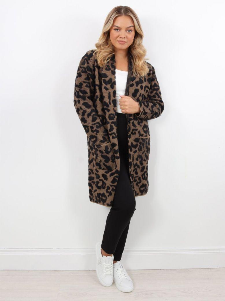 Rino & Pelle Longline Knitted Cardigan Leopard Black