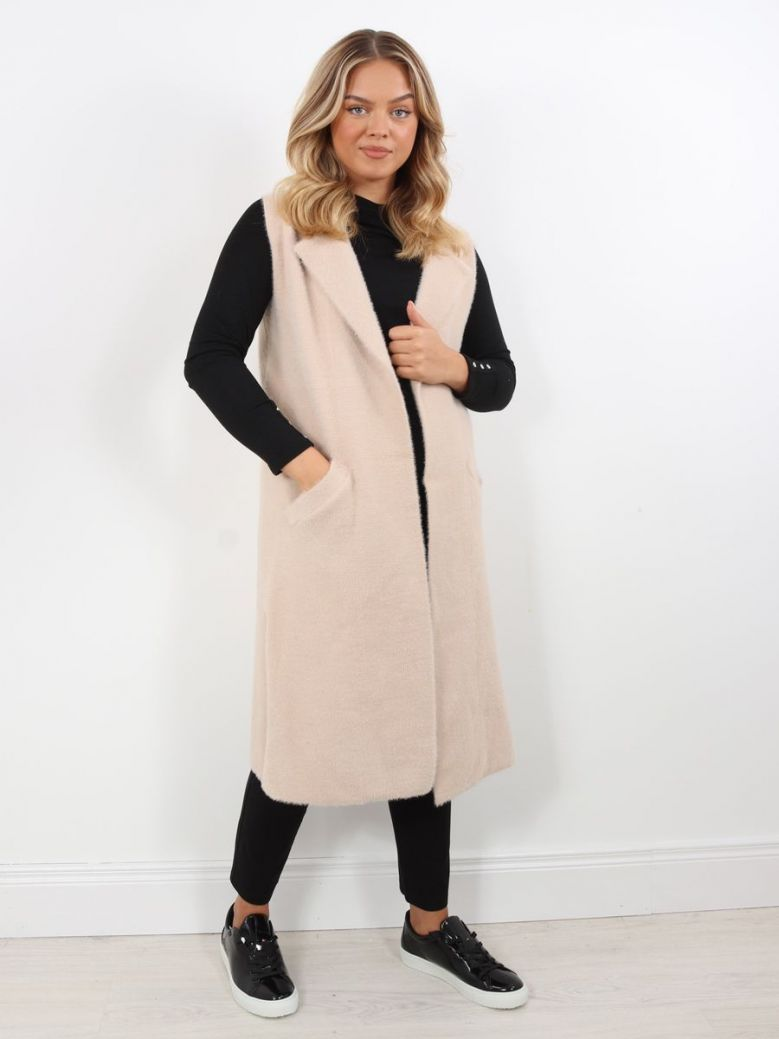 Rino & Pelle Longline Knitted Gilet Cloudy Pink