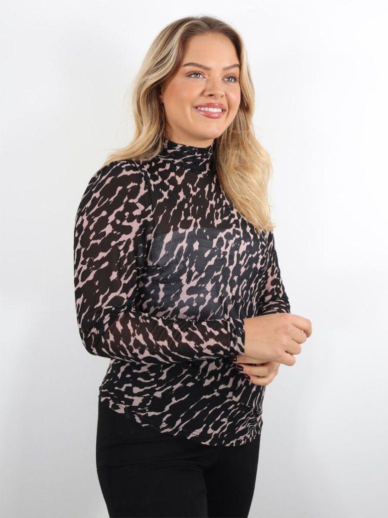 Rino & Pelle Ermina Leopard Print Mesh Top Black