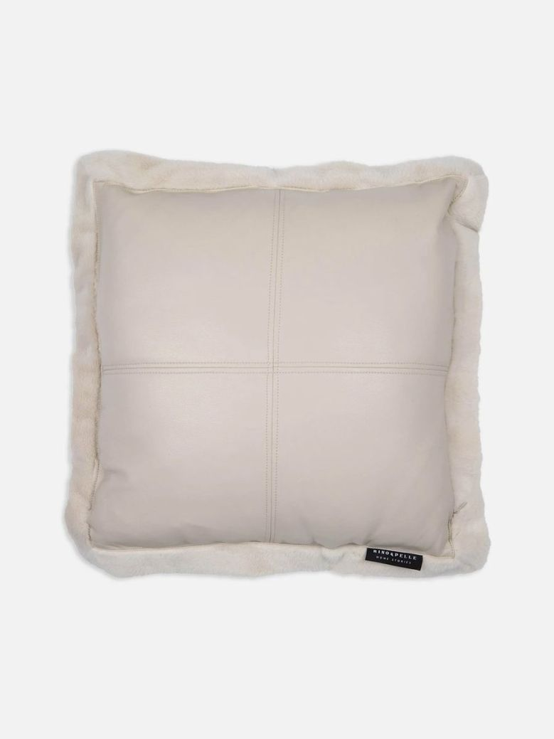 Rino & Pelle Barocco Faux Leather and Fur Cushion Birch 50x50