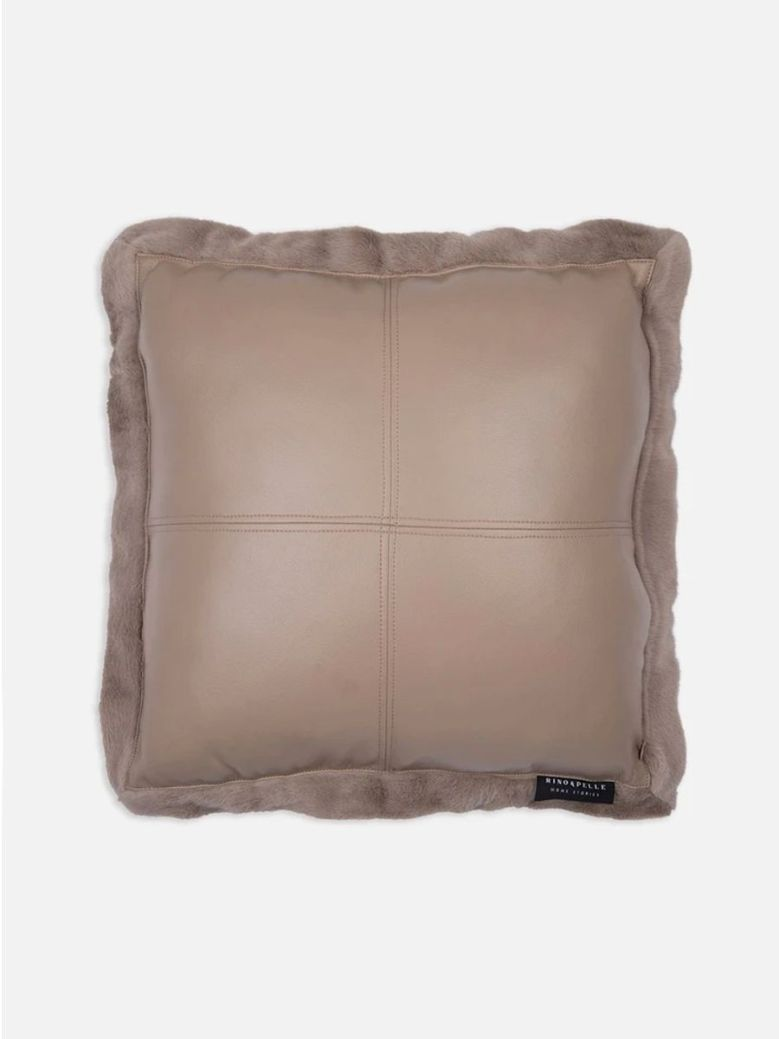 Rino & Pelle Barocco Faux Leather and Fur Cushion Taupe 50x50