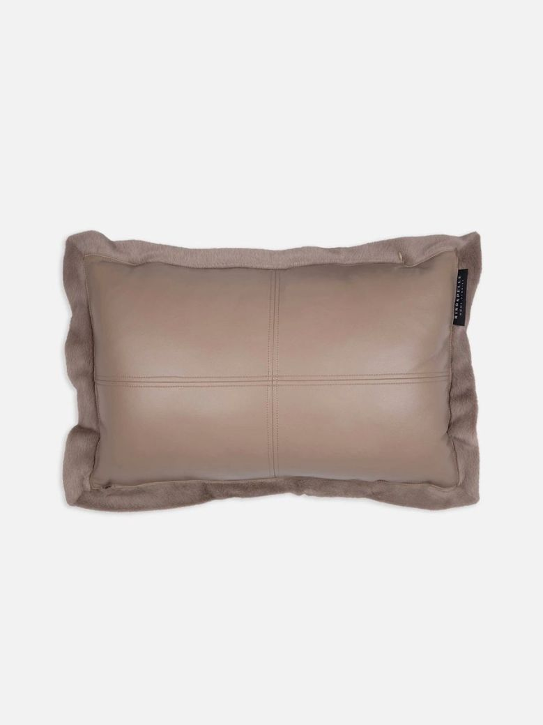 Rino & Pelle Lavoya Faux Leather and Fur Cushion Taupe 60x40