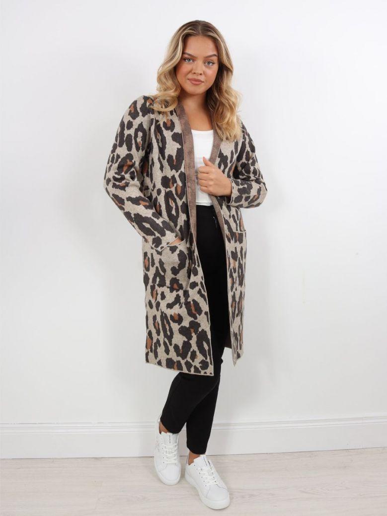 Rino & Pelle Longline Knitted Cardigan Birch Leopard