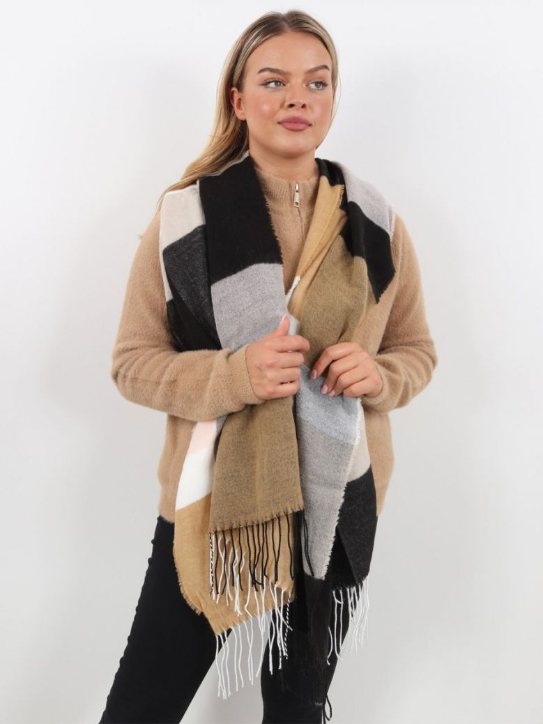 Rino & Pelle Natural Checked Scarf Brown