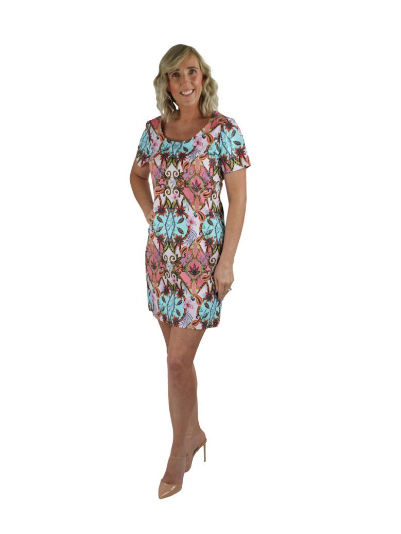 Robell Multi Paisley Floral Print Shift Dress