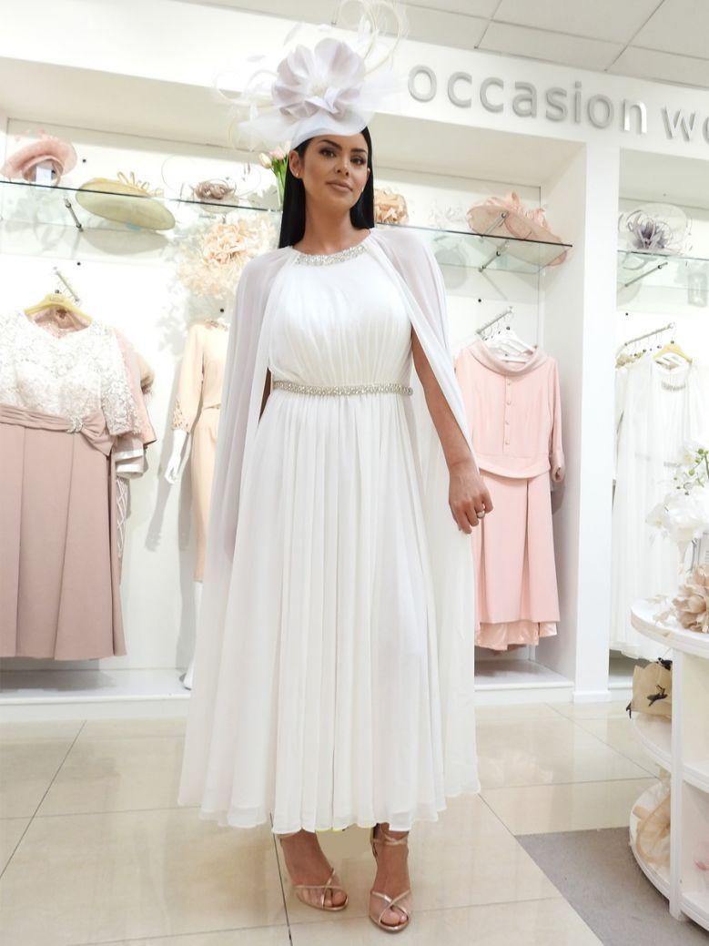 Veni Infantino for Ronald Joyce Chiffon Dress, Cream, Style 991711
