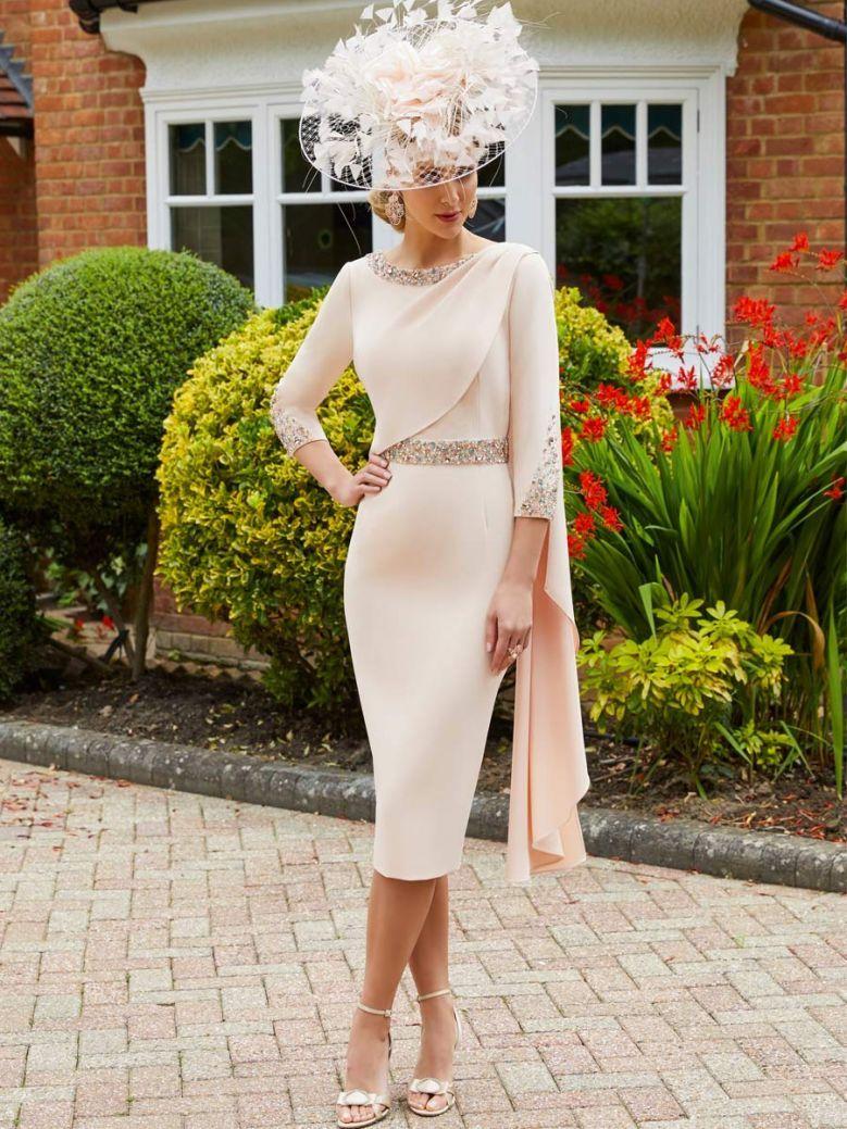 Veni Infantino for Ronald Joyce Jewel Embellished Dress, Peach, Style 991724