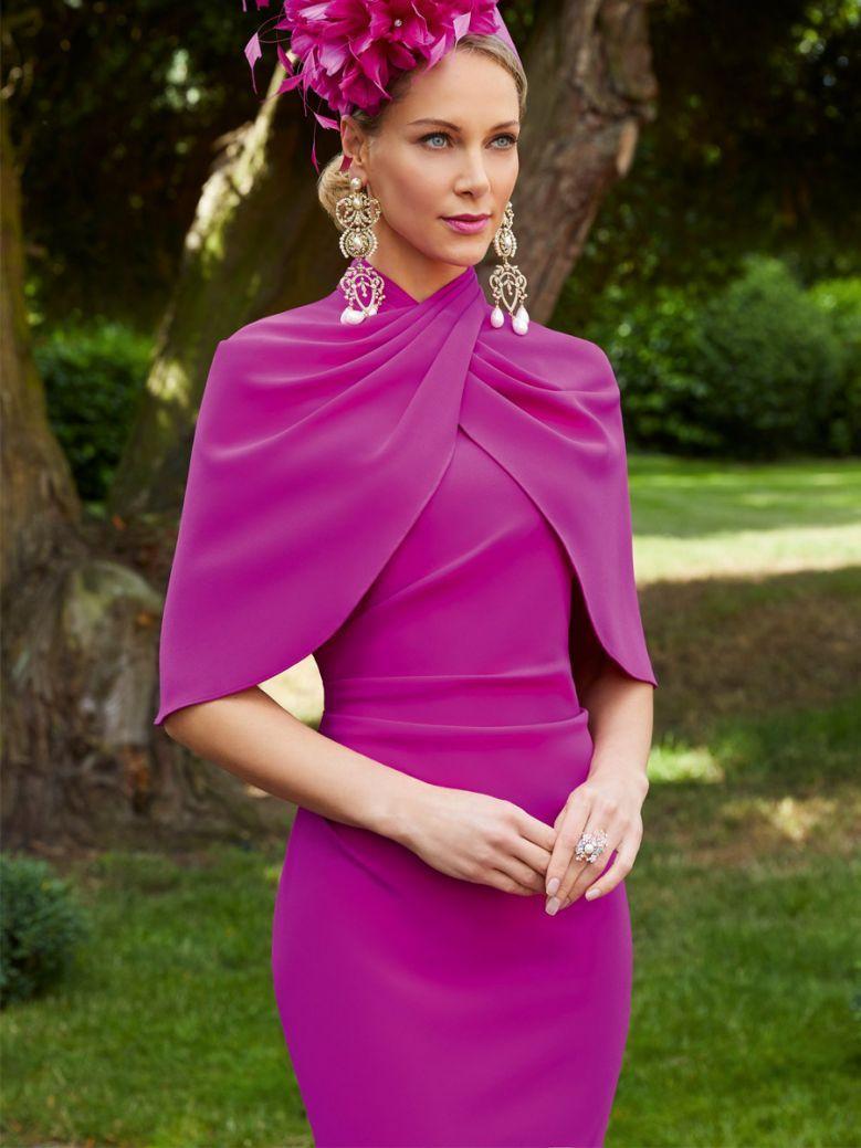 Veni Infantino for Ronald Joyce Sleeveless Dress with Cape, Magenta, Style 29603