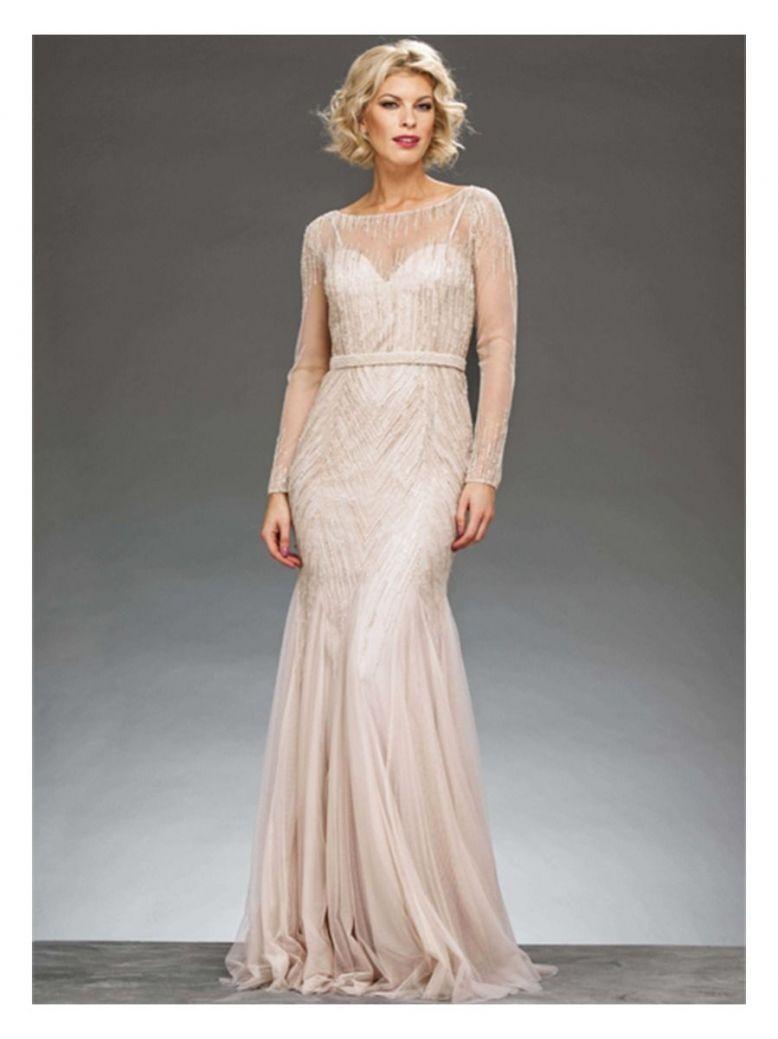 Rosa Clara Full Length Beaded Dress, Champagne, Style 1T123