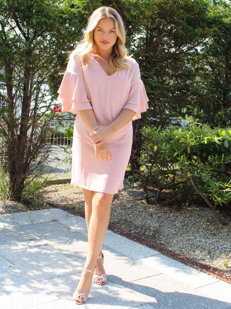 Cotton Brothers Ruffle Sleeved Tunic Dress Blush Pink