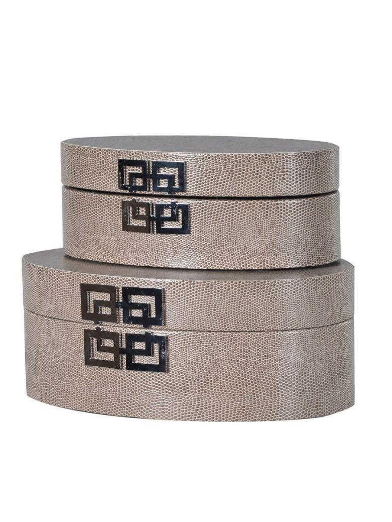 Bronze Set of 2 Round Boxes