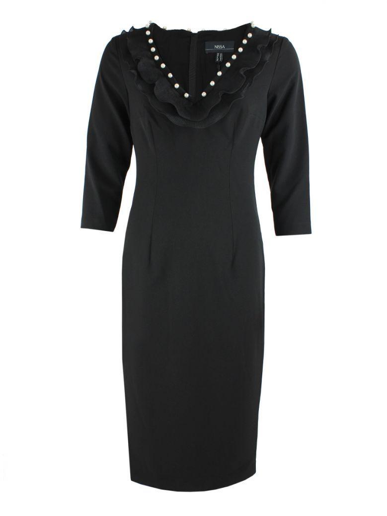Nissa Black Ruffled Neck Dress