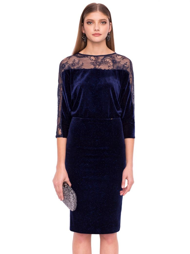 Nissa Navy Velvet And Lace Dress