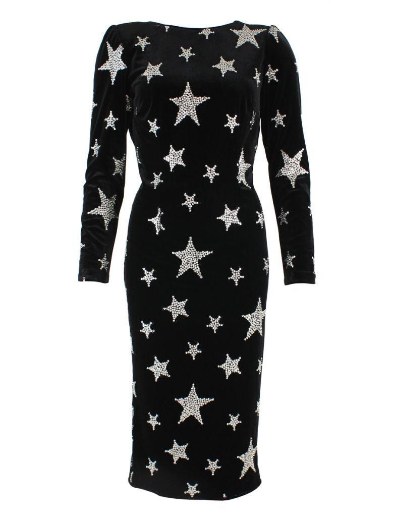 Nissa Black Velvet Star Embellished Dress