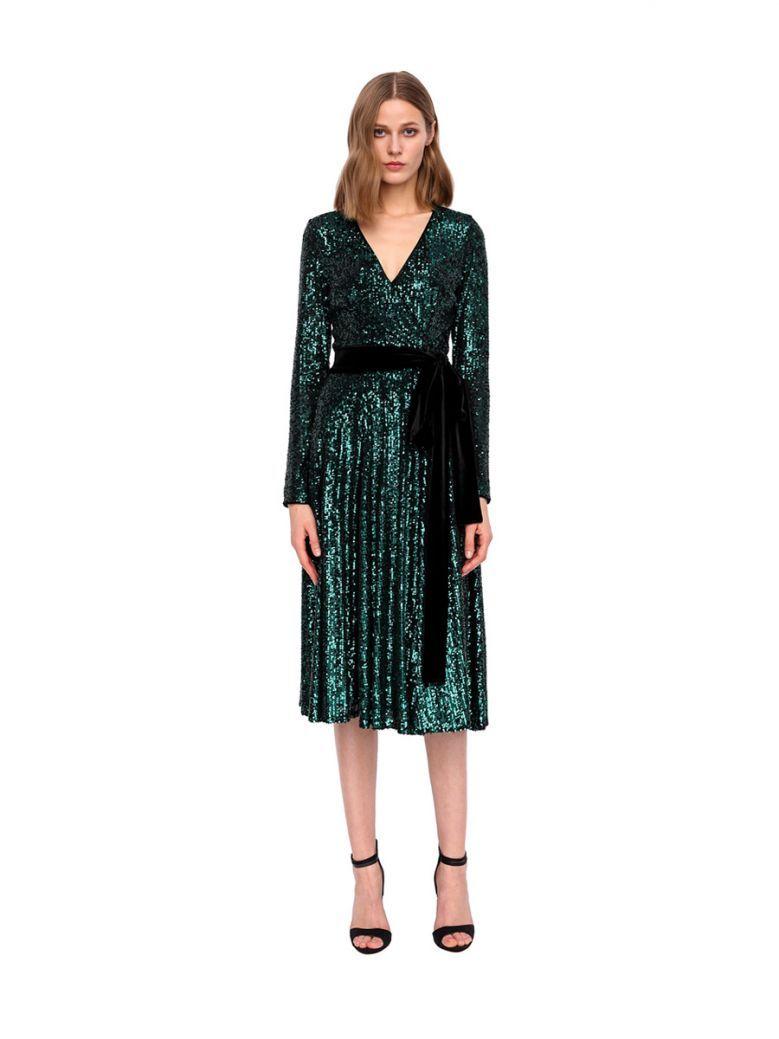 Nissa Green Sequin Wrap Dress