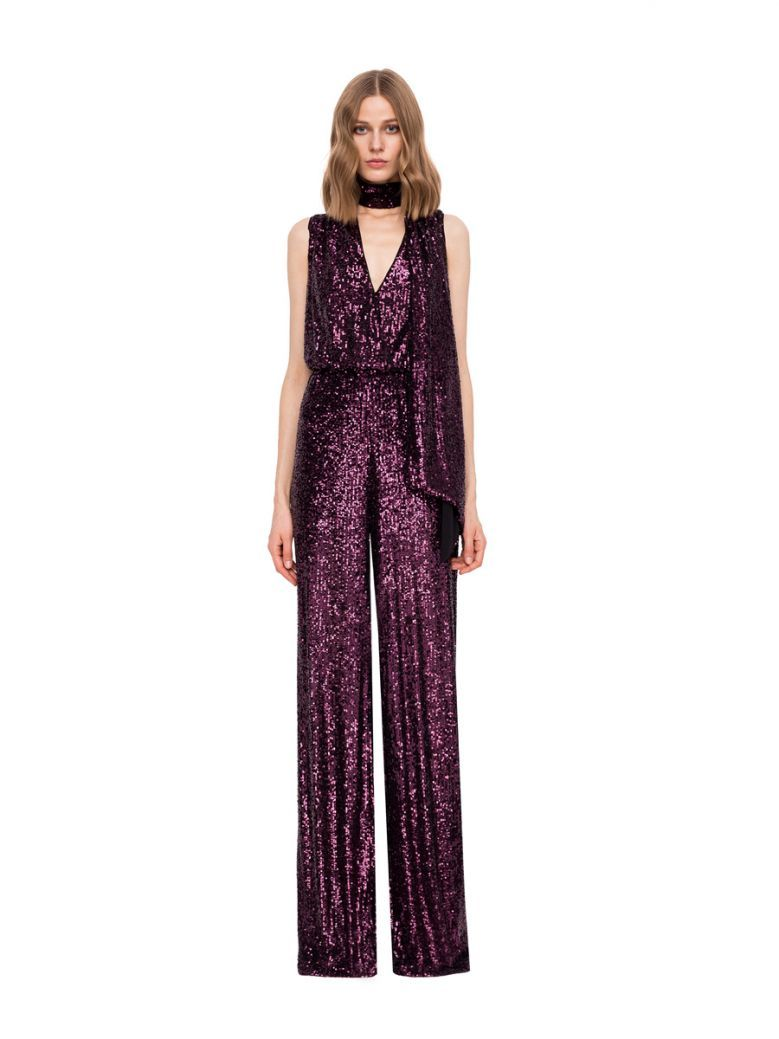 Nissa Purple Sequin Jumpsuit