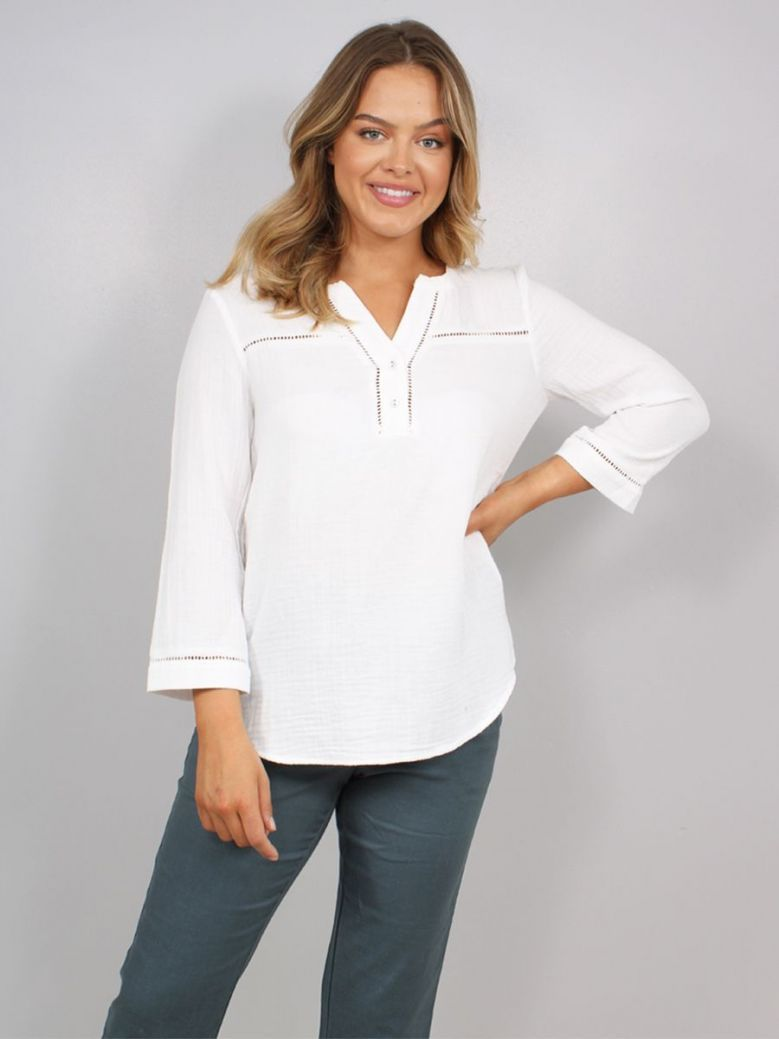 Sandwich Embroidered Blouse White