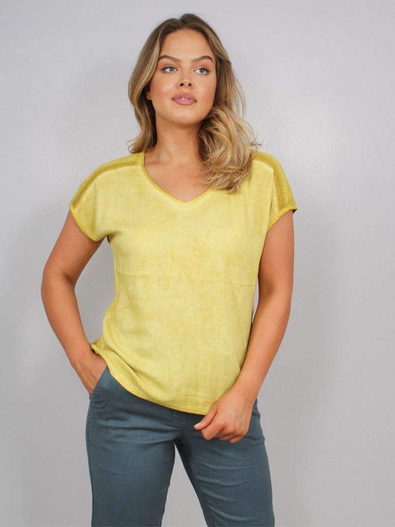 Sandwich V-Neck T-Shirt Yellow