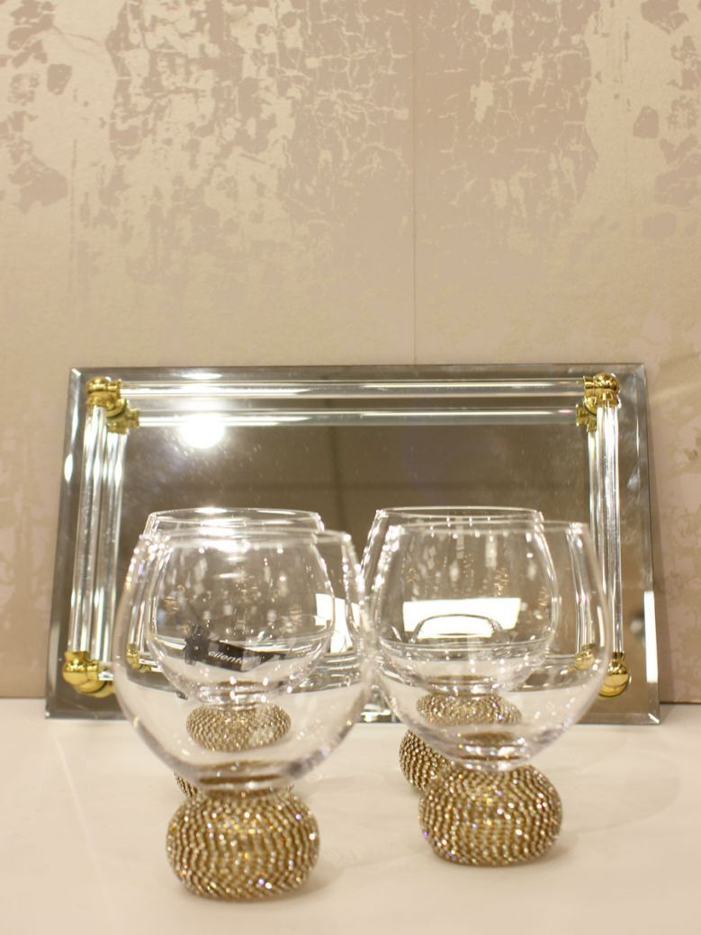 Set of 4 Gold Diamante Dining Glasses