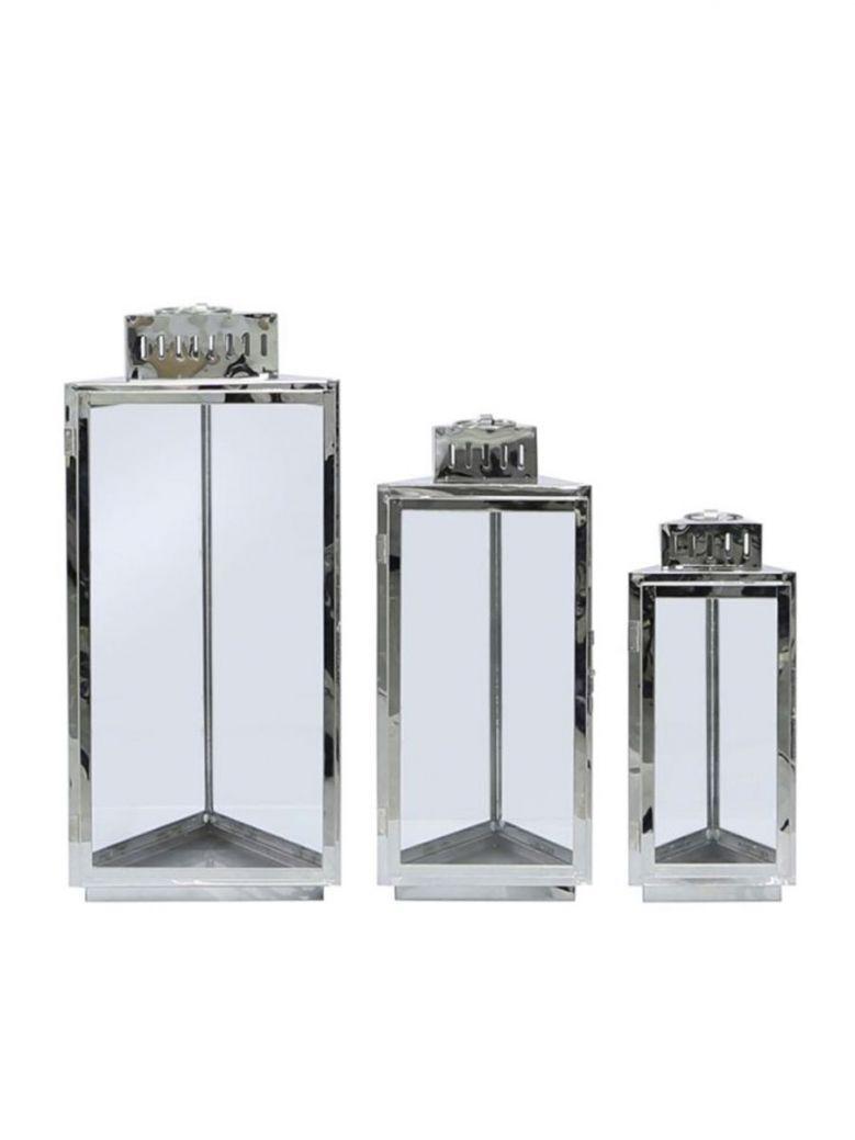Set Of 3 Stainless Steel Lanterns Gold