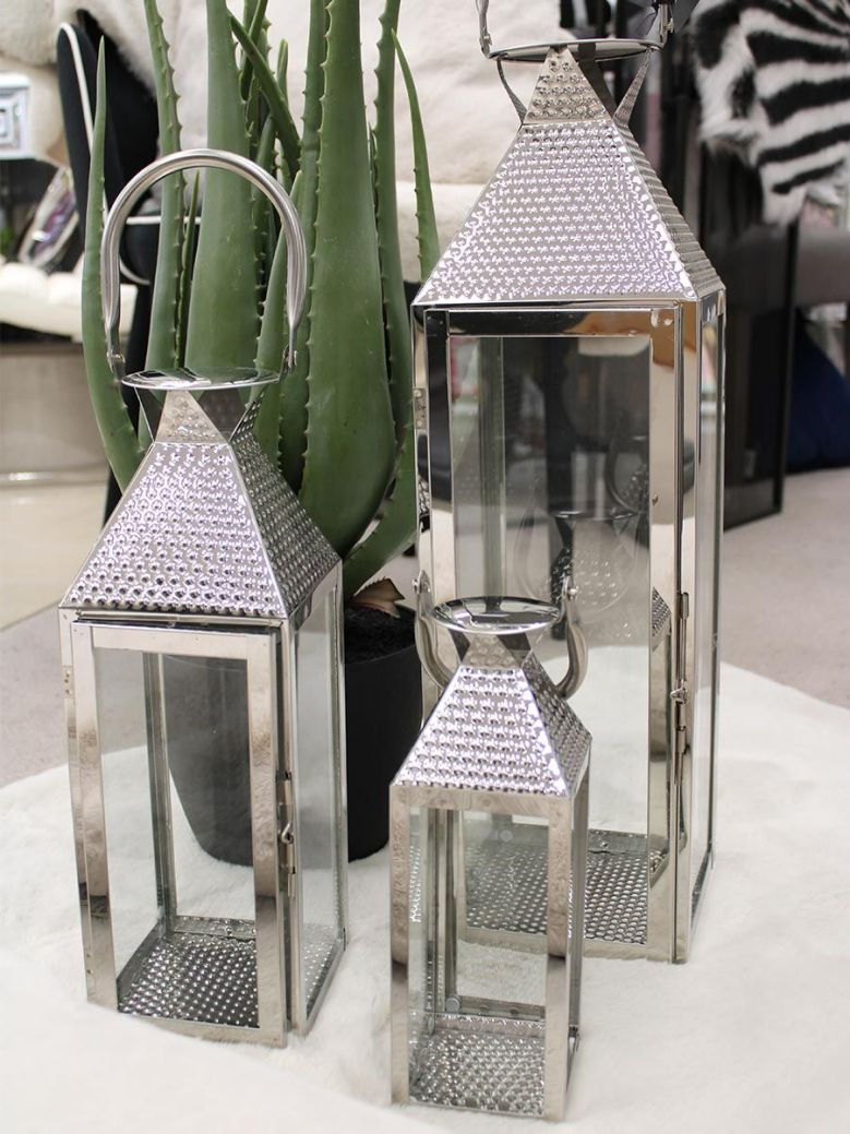 Set Of 3 Stainless Steel Lanterns Silver