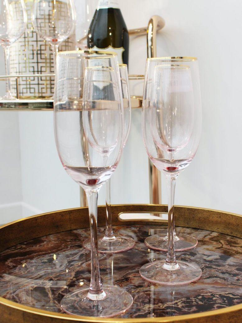 Set of 4 Pink Tone Champagne Glasses