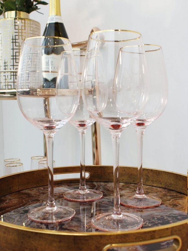 Set of 4 Pink Tone Wine Glasses