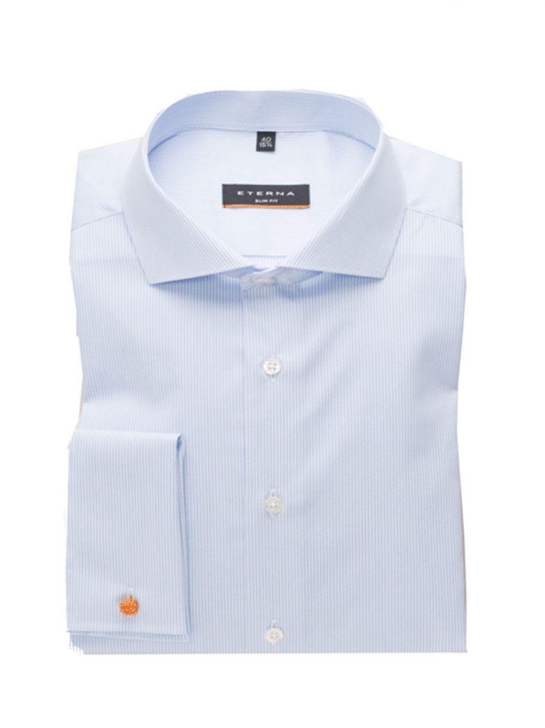 Eterna Pale Blue Stripe Slim Fit Shirt