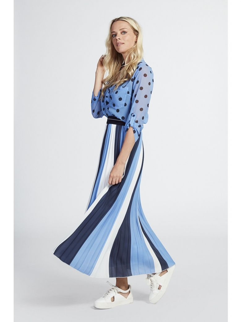 Marie Mero Blue & White Stripe Pleated Maxi Skirt