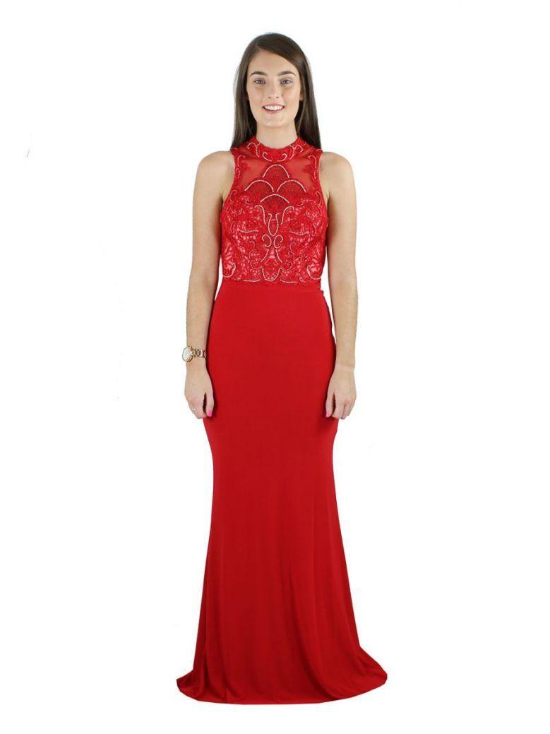 So Amazing Diamante High Neck Evening Dress Red
