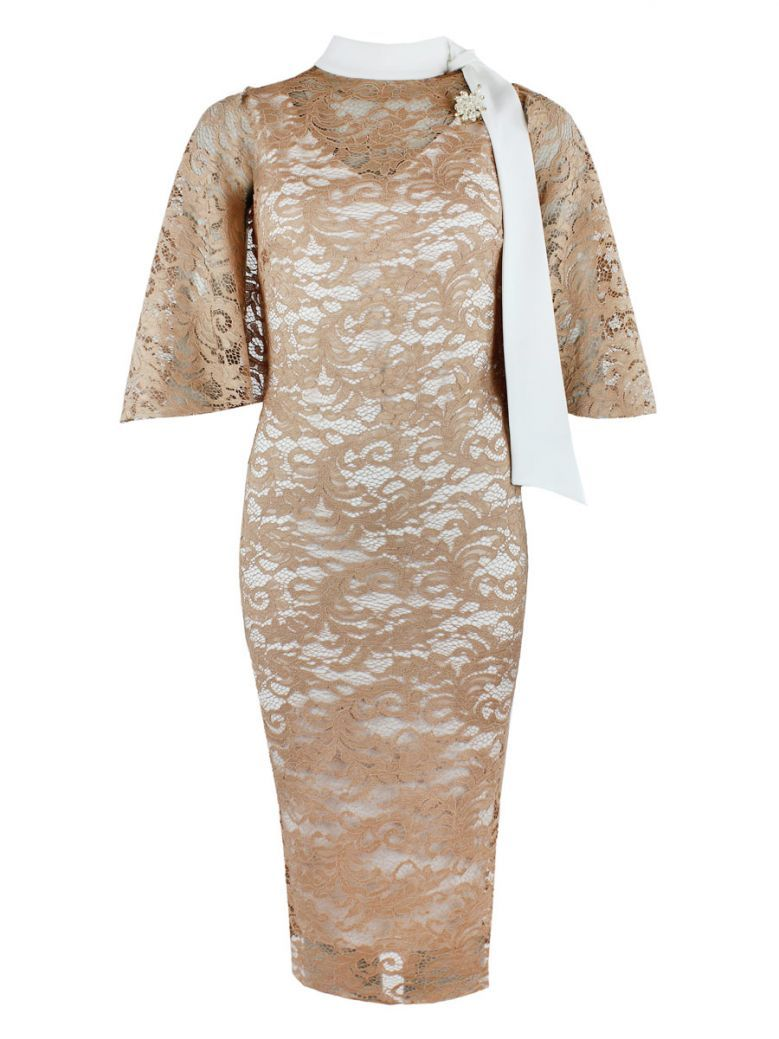Genese Nude Lace Dress With Brooch