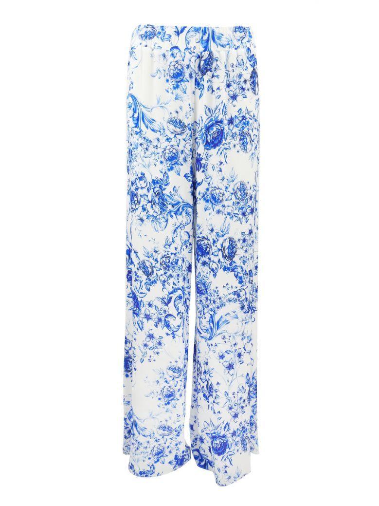 GG London White & Blue Floral Wide Leg Trousers