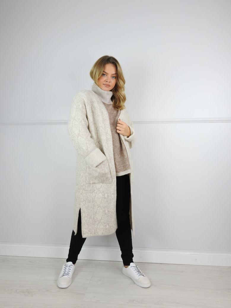 Cilento Woman Beige Longline Knitted Cardigan