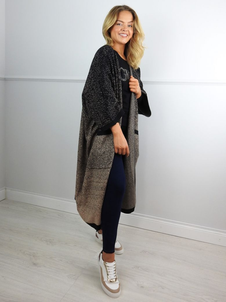 Cilento Woman Black and Beige Speckled Long Cardigan