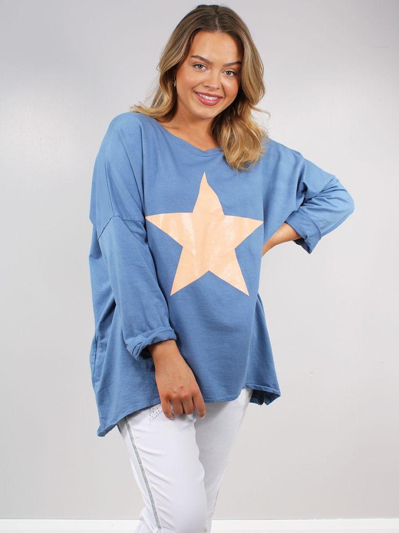 Cilento Women Blue Star Printed Top