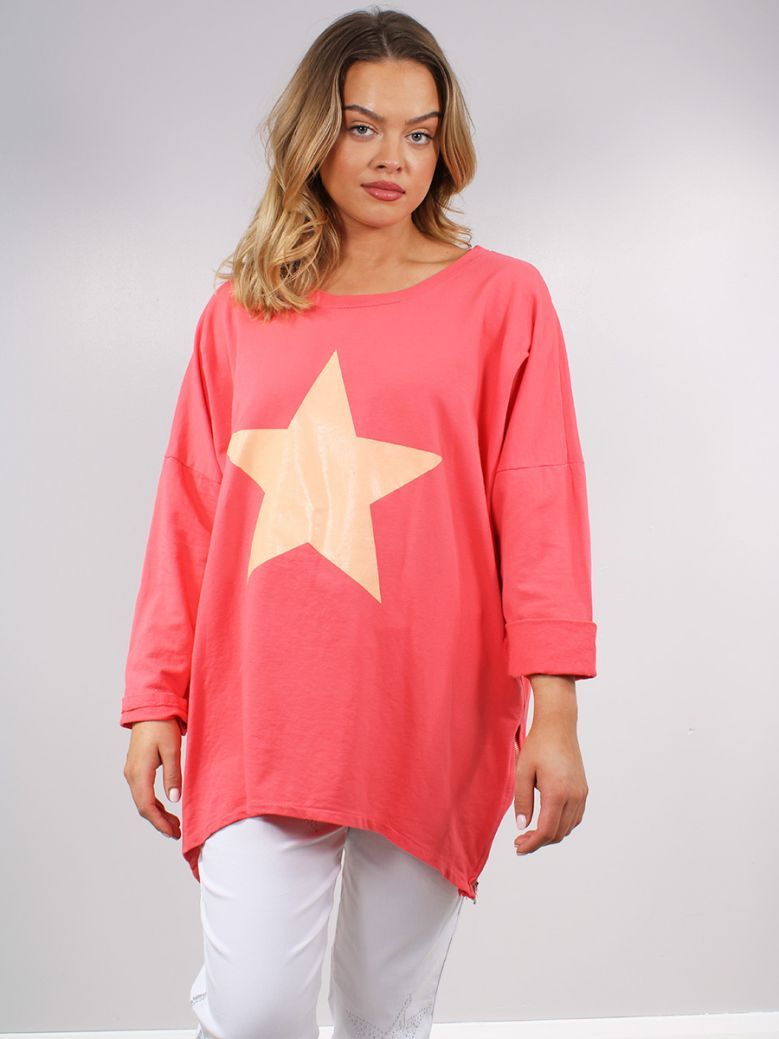 Cilento Women Orange Star Printed Top