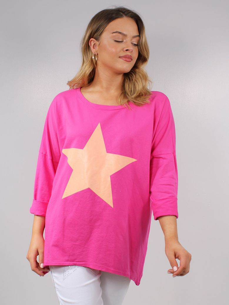 Cilento Women Fuchsia Pink Star Printed Top