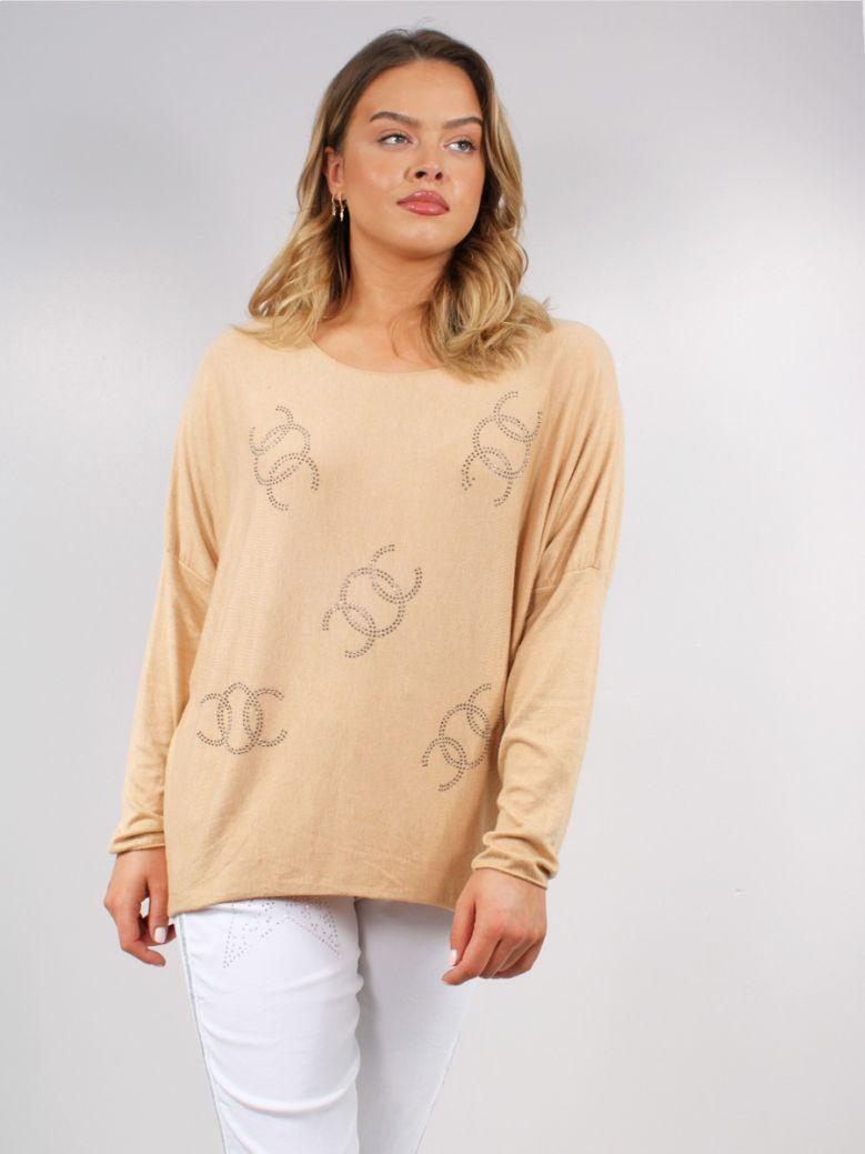 Cilento Women Camel Chanel Logo Top