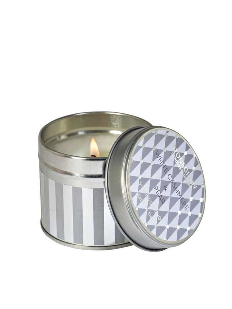 Stoneglow White Cashmere and Pear Scented Tin Candle
