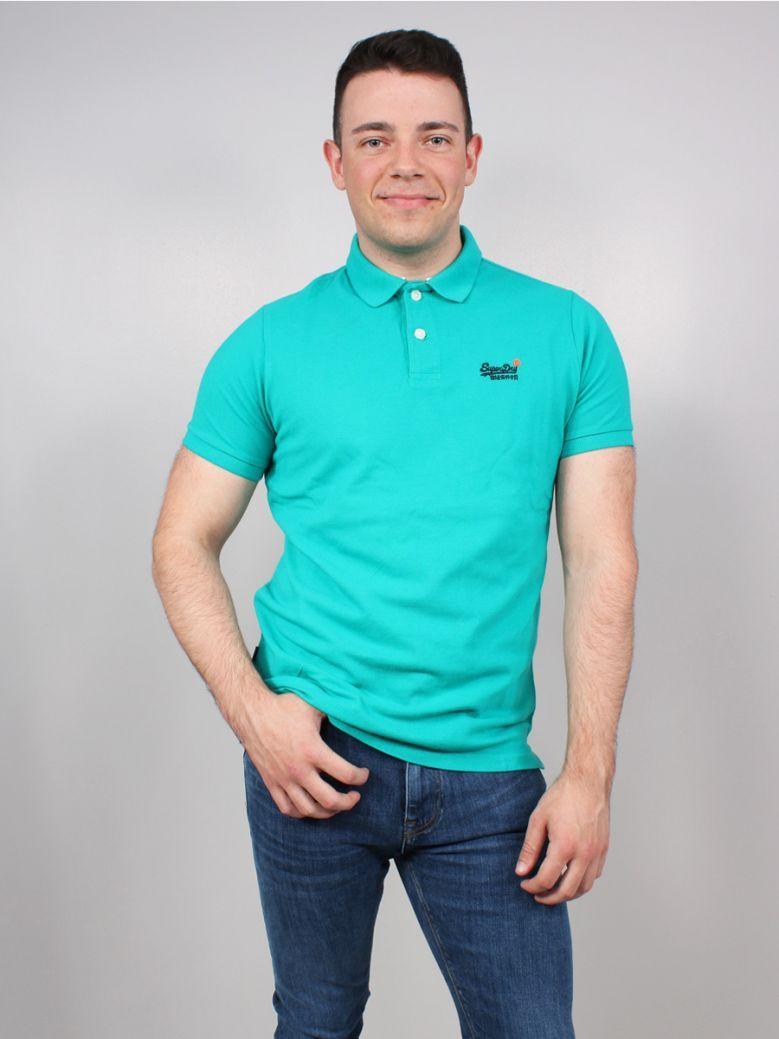 Superdry Classic Pique Short Sleeve Polo Shirt Blue