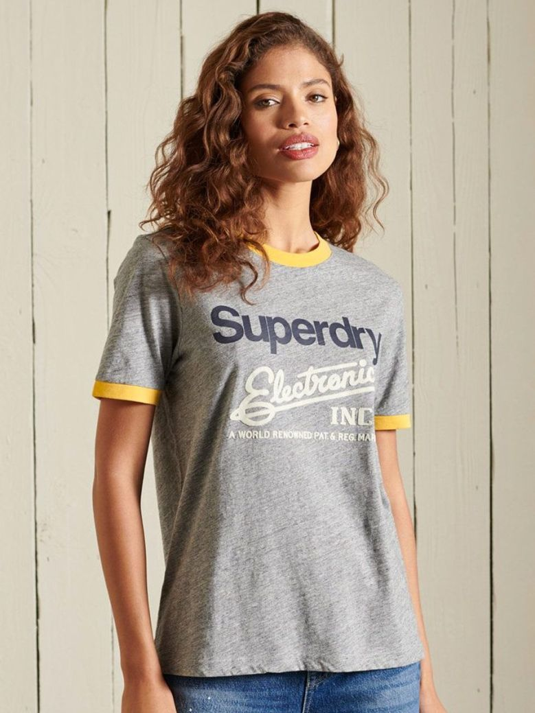 Superdry Core Logo American Classics Ringer Tee Grey
