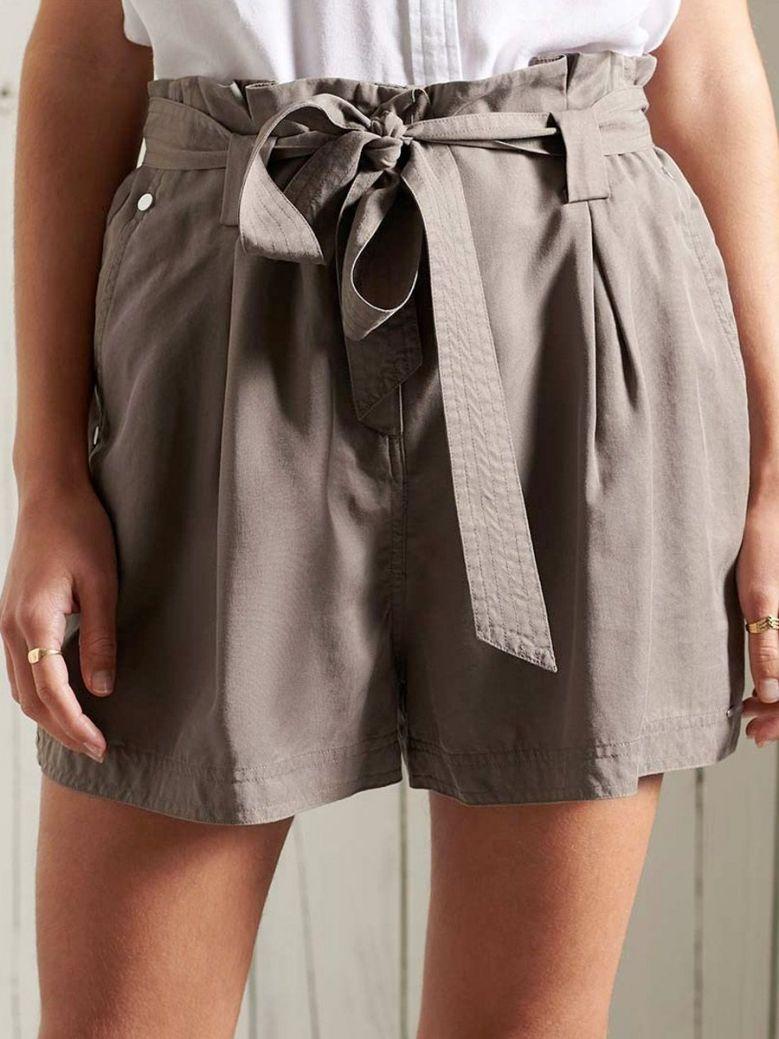 Superdry Desert Paper Bag Shorts Taupe