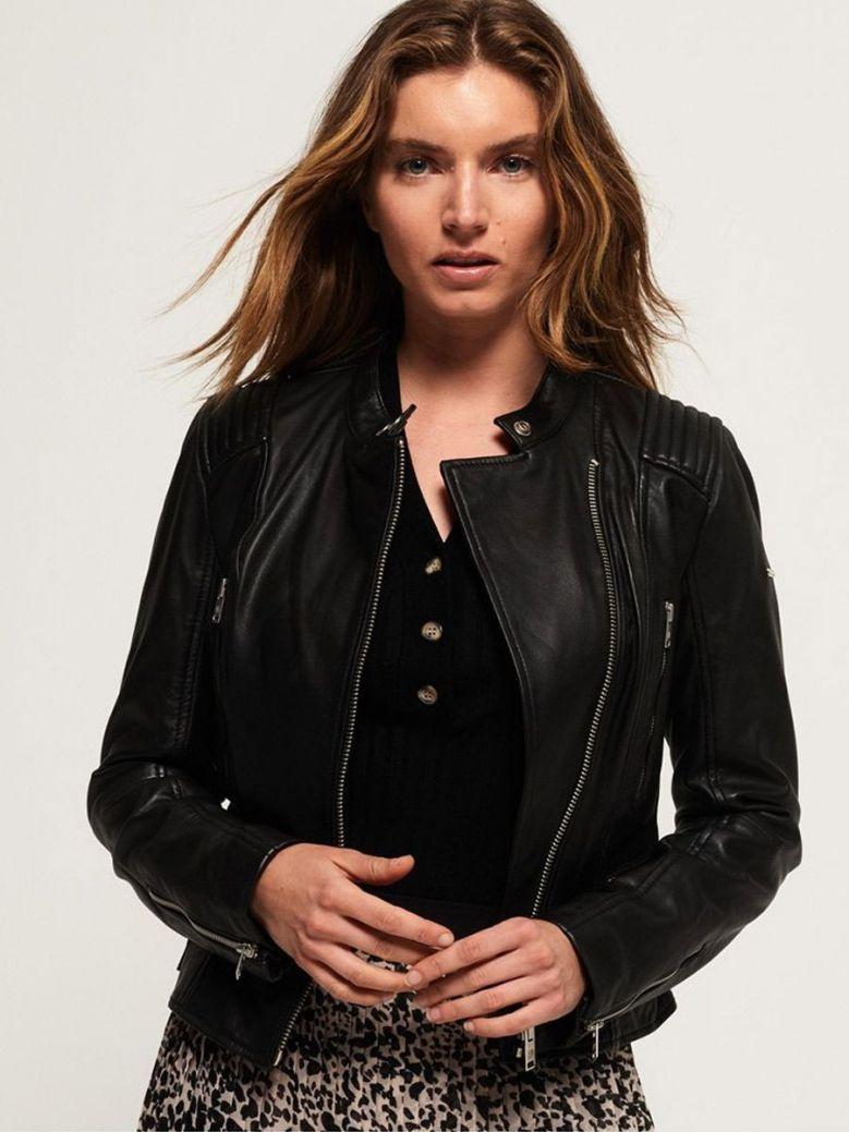 Superdry Leather Alexa Racer Jacket Black