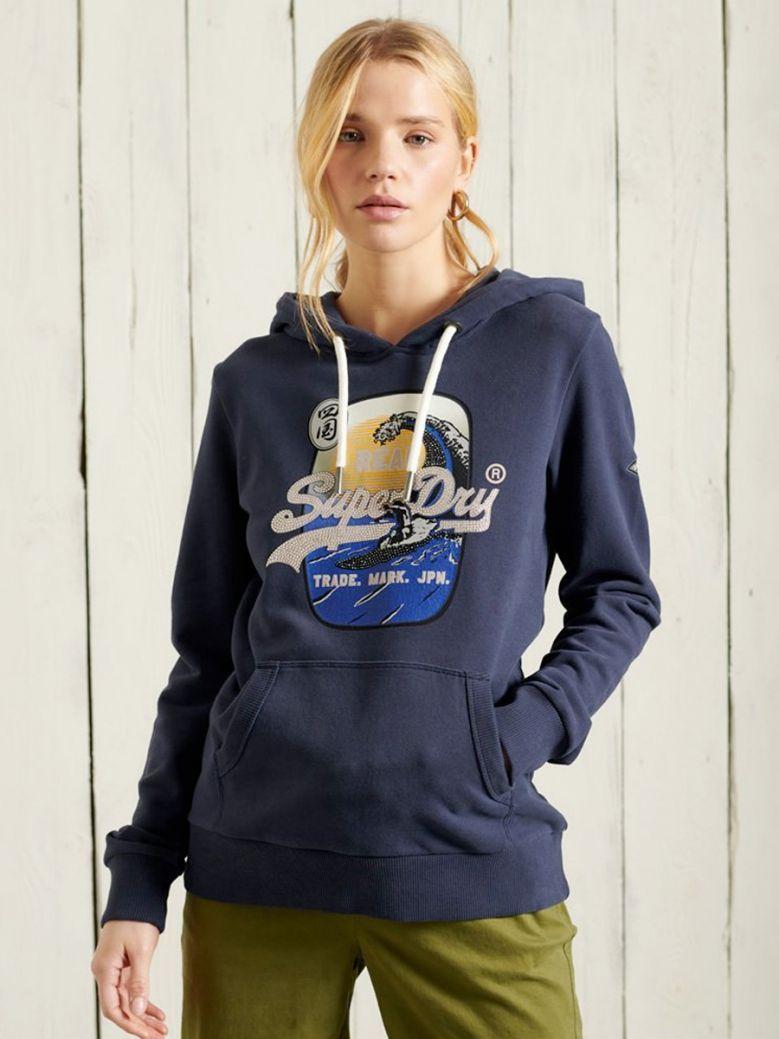 Superdry Vintage Logo Loopback Hoodie Lauren Navy