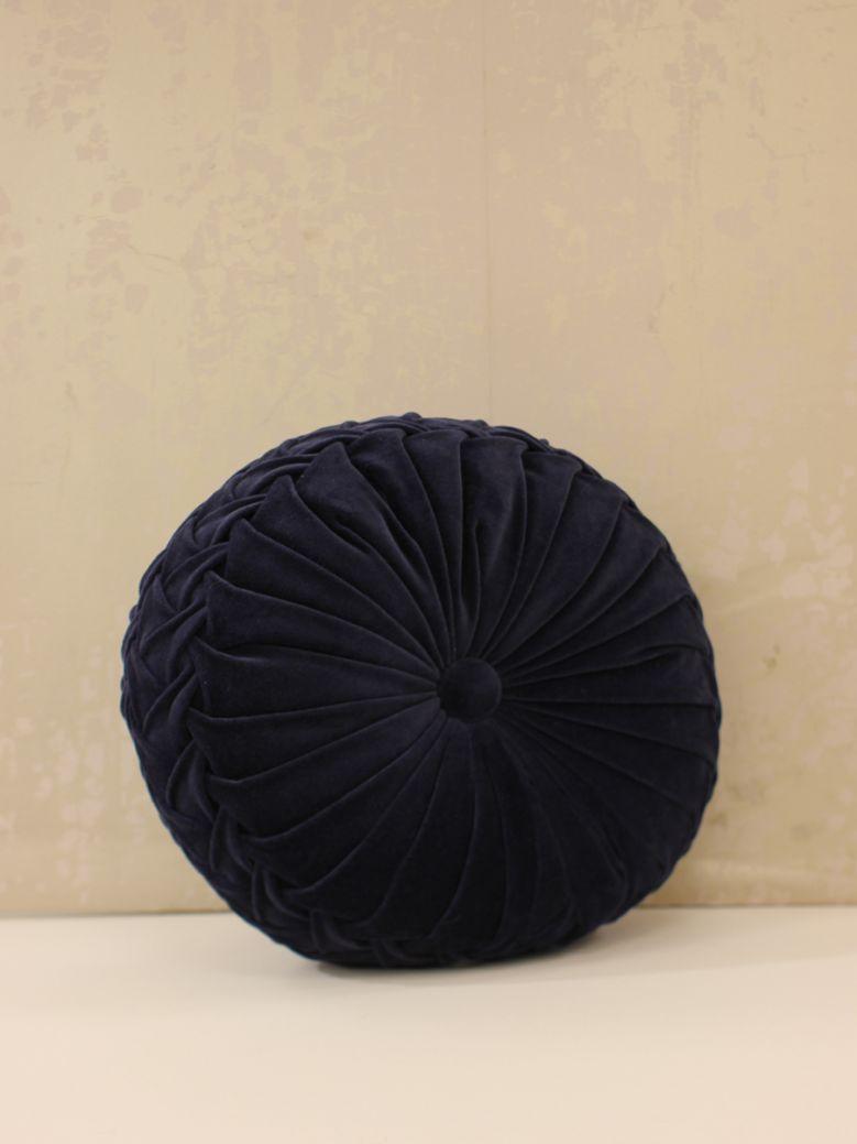 Blue Round Ruffle Cushion
