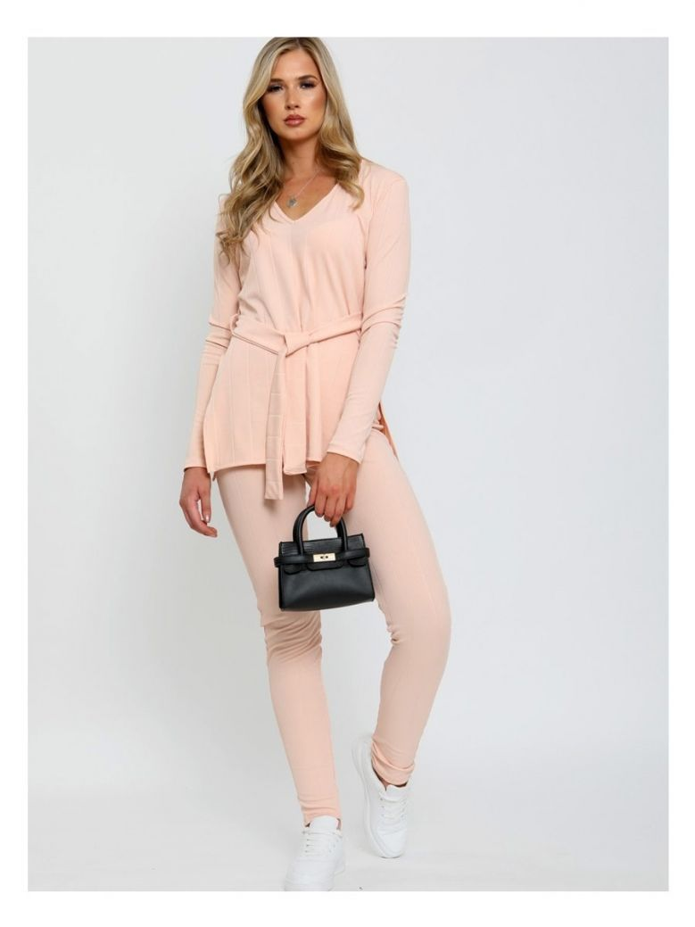 Cilento Woman Nude Ribbed Side Split Top & Trouser Co-ord